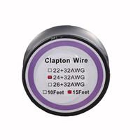 ingrosso vape di rebuildable diy-Clapton Wire Resistance Wires 15 Feet 22 + 32AWG 24 + 32AWG 26 + 32AWG Cavi di riscaldamento per fai-da-te Ricostruibile RDA RBA Vaporizzatore mod Vape