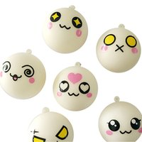 All'ingrosso-1Pcs Kawaii Bambini Expression Bun Face Squishy Bread Keychain Bag Charm Strap Giocattoli da cucina Casuale