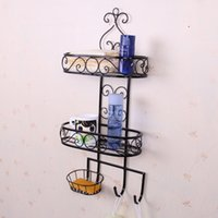 Wholesale Wrought iron bath soap Soap receive shelf hanging towel rack Rack hook Creative layer frame