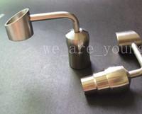 ingrosso bong in acqua di titanio-Chiodo di titanio da 90 gradi Chiodo di titanio 14mm18mm giunto femminile o maschio per il fumo del vetro Bong del tubo dell'acqua