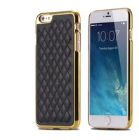 Wholesale Plastic Grid Plate - iPhone6 Luxury Retro Grid Sheep Leather Hard Plastic PC Plating Linear EX Case For iPhone 5 5S 6 6S Plus 6Plus