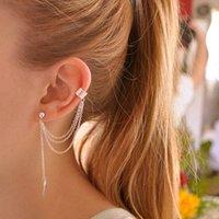 Wholesale Clip Earrings Wholesale Fashion - Stylish Punk Rock Leaf Chain Tassel Dangle Ear Cuff Wrap Earring Fashion Leaf Tassel Ear Clip