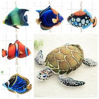 Wholesale Plush Sea - 6 Styles 45cm Creative Big Simulated Sea Animal Fish Plush Toy 3D Realistic Stuffed Fishes Turtle Doll Kids Xmas Gifts CCA8259 100pcs