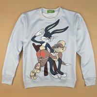 Wholesale Bugs Rabbit - New fashion 2014 autumn men women's casual sweatshirt 3D print cartoon Bugs Bunn rabbit funny sweat shirt pullover hoodies