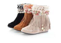 Wholesale Boho Wedges - fashion Womens Faux Suede Flower Boho Fringe Flats Heel Ankle Boots Shoes #08