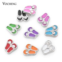 Wholesale Hand Painted Shoes Wholesale - Glass Locket Accessories Hand Painted Inlaid Crystal Shoes Charm (VA-145) Vocheng Jewelry