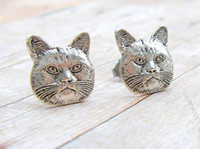 Wholesale Antiques Free Shipping - Fashion CAT Antique Silver Plated earrings Personality stud earrings for women wholesale free shipping