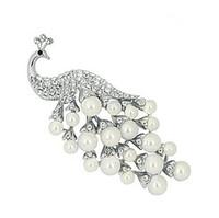 büyük şeffaf elmas taklidi broş pin toptan satış-3 Inç Gümüş / Altın Temizle Rhinestone Kristal ve Sahte İnci büyük Takı Tavuskuşu Broş ve Pimleri