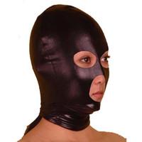 capuche en spandex bouche ouverte achat en gros de-Partie masque spandex avec capuchon en latex masque tête masque visage masque yeux nez bouche ouverte masque Halloween