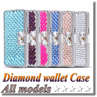 Wholesale Diamond Leather Flip Phone Cover - Galaxy S7 Edge Luxury Diamond Cell Phone Case Cover Stand flip cover case for Iphone 7 6s plus 5 5C S6 S5 Note 5