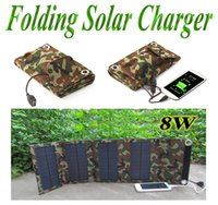 Wholesale Solar Cells 8w - 8W Portable Foldable Solar Charger External Solar Panel Power Bank for Mobile Phone Tablet Camera MP3 4 Outdoor Solar Emergency Charger