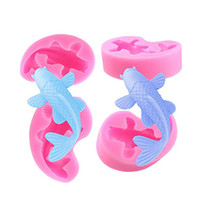 Wholesale christmas jelly moulds - Chocolate Mould Cake Mold Fish Carp Shape Silicone Fondant Mould for Cookie Cake Biscuit Jelly Baking Tools For Decoration Christmas