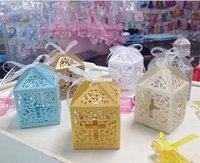Wholesale Cross Favors Christening - baby shower favor box cross candy box elegant laser cut wedding birthday christening party favors 50pc lot free shipping