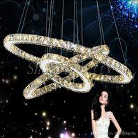 anillo de diamantes colgante de luz al por mayor-Moderno LED Crystal Chandelier Ring Diamond K9 lámparas colgantes de iluminación para casa de playa dormitorio luces comedor Lght