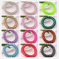 Wholesale Hair Tie Jewelry - 20pcs lot Assorted Colors 5.5cm Telephone Wire Coil Band Hair Rope High Quality Girls Scrunchies Jewelry Hair Tie Hair Accessories Bracelet