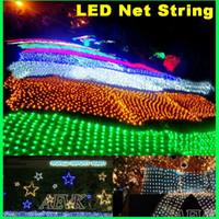 ingrosso luci natalizie nette all'aperto-Stringa di luci a LED in rete natalizia esterna impermeabile rete fata luce 2m * 3 m 4 m * 6 m luce della festa nuziale con 8 controller di funzione