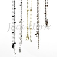 Aço inoxidável Ball station chain 2015 mais popular prata ouro rosa ouro preto chocolate locket chains necklace