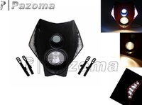 Wholesale Mx Honda - PAZOMA LED HEADLIGHT DUAL SPORT Halogen & LED Off-Road Headlight EXC MXC LC4 520 525 450 MX SUPERMOTO DIRT BIKE