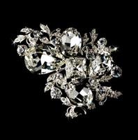 Wholesale Diamante Alloy - 3 Inch Brilliant Silver Plated Rhinestone Diamante Multi Crystal Vine Bridal Brooch Gift Pins
