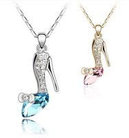 Wholesale Girl Shoes Pendant Necklace - 2015 Girl Noble 18K Gold Plated Jewelry Cinderella Crystal shoes Pendant Austria Crystal Necklace Necklaces & Pendants silver