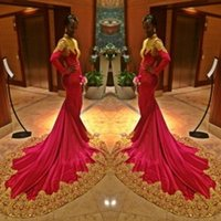 Wholesale Evening Gowns Tail - High Neck Arabic Dresses 2015 Evening Dresses with Long Sleeves Mermaid Style Prom Dresses with Long Tail Red Evening Gowns with Gold Lace