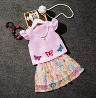Wholesale Girls Summer Butterfly Shirt - 2018 Summer New Baby Girl Sets Butterfly Sleeveless T-shirts+Skirt Two Piece Fashion Outfits Children Clothing T3224