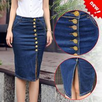 Plus Size Jeans Rock 2015 Vintage Frauen Front Button Denim Midi Rock Casual Blau Hohe Taille Eine Linie Tasche Split Bodycon Rock