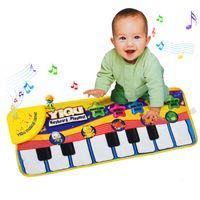 tapis de piano pour bébé achat en gros de-Multifonction Bébé Jouer Rampant Mat Touch Type Électronique Piano Musique Jeu Mats Animal Sounds Chante Jouets pour Enfants Cadeau C3163