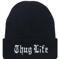 Wholesale Thug Life Knitted Hats - New Winter Beanies solid Color Hat Unisex Plain Warm Soft Beanie Skull Knit THUG LIFE cap Knitted thickness Touca Gorro Caps
