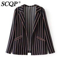SCQP Мода Striped Открытые стежки Женские куртки и пальто Turn-Down Collar Slit Spring Jacket Women Party Club Woman Верхняя одежда