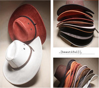 Wholesale Boys Western Hat - Wholesale-2015 New American Western Cowboy hat cap Free shipping Hollywood Style Party Costume travel leather cow boy hat straw cowboy hat