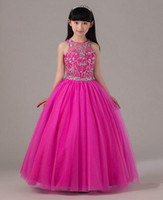 Wholesale Long Party Dresses For Kids - Hot Pink Beaded Pageant Dress For Little Girls Full Skirt Long Tulle Kids Party Gown Birthday Dress Custom Made