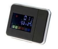 retroiluminação led lcd venda por atacado-Moda Quente Atenção projeção Digital Tempo LCD Snooze Alarm Clock Projetor Display Colorido LED Backlight