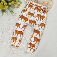 Wholesale Tiger Leggings Children - Boy harem pants tiger printed cute baby leggings cotton children pants autumn toddler harem pant kids