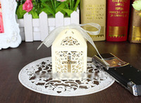 Wholesale Cross Favors Christening - Baby Shower Favor Cross Candy Box ELegant Laser Cut Wedding Birthday Christening Party Favors Free Shipping