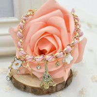 Wholesale Braid Pendant Bracelets Fashion - Fashion Sweet Poker Tower Stars Rhinestone Braided Charm Bracelet, Pearl Bracelets Pendant Hand Chain Jewelry #50