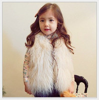 Wholesale White Faux Fur Vest Baby - Cute Girls Waistcoat Fur Vest Winter Autumn Warm Vests Children Sleeveless Coat Outwear Kids Clothing Baby Girl Clothes Child Waistcoats