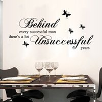 Wholesale Men Wall Decor - Black English Quote Wall sticker Behind Every Successful Man Wall Stickers Home Decor Art Decals for Study & Living Room