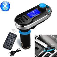 mp3 bluetooth araç adaptörü toptan satış-Kablosuz Araç İçi Bluetooth 4.0 MP3 FM Verici Radyo Adaptörü Araç Kiti ile 1.4 Inç Ekran ve USB Araç Şarj