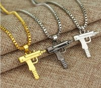 Wholesale Costume Gun - Engraved Hip Hop For Gun Shape Uzi Pendant Fine Quality Necklace Chain Popular Fashion Jewelry for Women Men Best Gifts