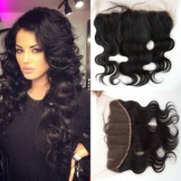 Wholesale Swiss Lace Frontals - Full Lace Frontal Closures Ear to Ear 13x4 peruvian Body Wave Cheap Human Hair Swiss Lace Frontals Bleached Knots G-EASY