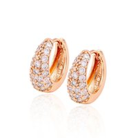 Wholesale Promotion Rose Gold - Xuping Promotion Rose Gold Color Women Jewelry Earrings Cubic Zirconia Huggie Hot Sell Environmental Copper Earrings For Gifts DH-9-2976613