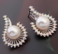 Wholesale Earings Color Diamond - more color diamond bead pearl lady's earings (88) kukj