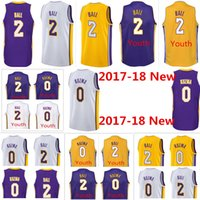 2017-18 New Los Angeles Hommes # 2 Lonzo Ball # 0 Kyle Kuzma violet blanc jaune Lakers Jersey broderie Logos swingman chandails