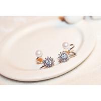 Wholesale Ear Accessories Piercings - Pearl Earrings For Woman Fashion Bowknot Rhinestone Gilded Jewelry 2015 Korea Studs Ear Piercing Long Earhook Accessories