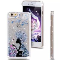 Wholesale Apple Tree Girl - For Iphone 4 5 6 Plus pc case Star Liquid Moving Bling Quicksand Transparent Back Cover Bear Girl Dandelion Rabbit Tree Horse