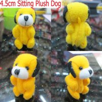 Wholesale Wholesale Tiny Toys - 100pcs Lot H=4.5cm Yellow Cartoon Plush Tiny Dog Lovely Mini Perro Pendants,Stuffed Dolls,Plush Toys For Keychain Phone Bag