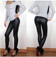 Wholesale plus size leather skinny pants - Spring Summer Women Leggings L XL XXL XXXL Full Length High Waist Middle-rise Elastic Flat Leather Pants Plus Size Sexy Leggings