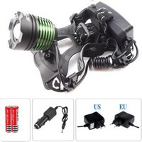 Wholesale Lm Zoomable Headlamp - CREE XML T6 LED 2000LM Headlamp Headlight Head lamp light 2000 Lm Zoomable Zoom torch +Charger+Car charger+2*18650 battery