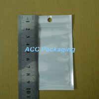 "Wholesale Small Plastic Seal Bags - Small 6cm*10cm (2.4""*3.9'') White   Clear Self Seal Zipper Plastic Retail Packaging Bag Ziplock Zip Lock Bag Retail Package W  Hang Hole"